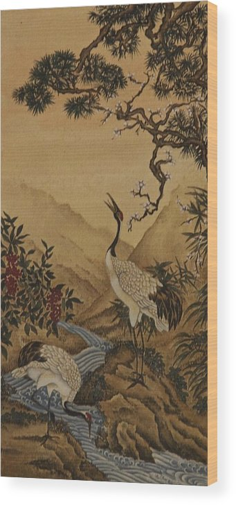 Landscape Wood Print featuring the painting Cranes Beside A River With A Plum Tree by Nicola Mountney