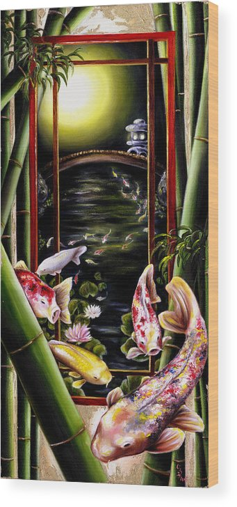 Japanese Wood Print featuring the painting Dream by Hiroko Sakai