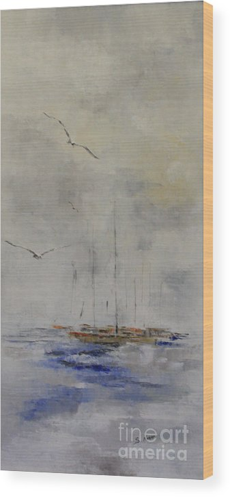 Seascape Wood Print featuring the painting Fog Lifting by Steve Knapp