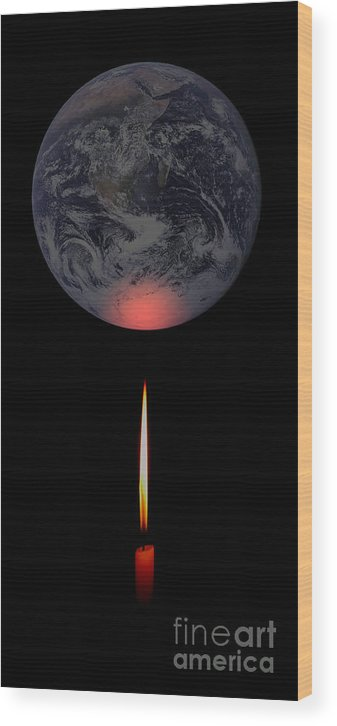 Earth Wood Print featuring the photograph Global Warming by Mim White