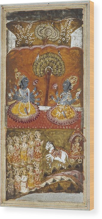 Vertical Wood Print featuring the photograph Illustration Of The Bhagavata Purana by Everett
