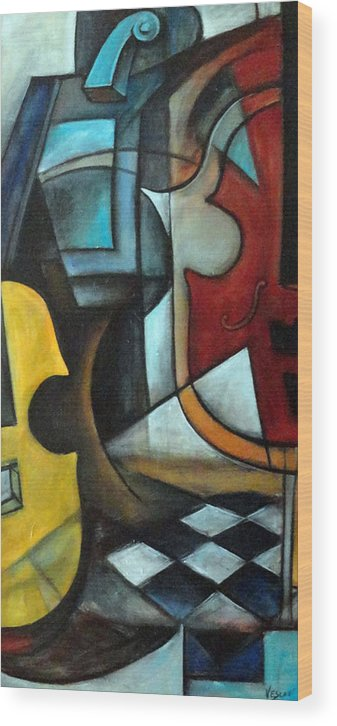 Abstract Wood Print featuring the painting La Musique 1 by Valerie Vescovi