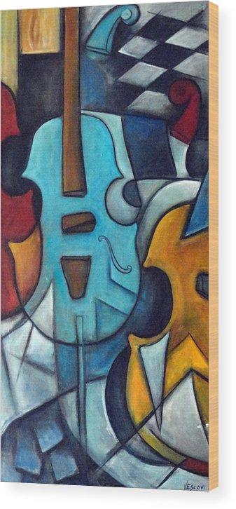 Music Wood Print featuring the painting La Musique 2 by Valerie Vescovi