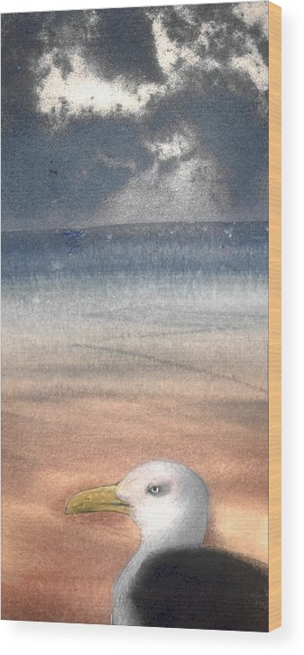 Seagull Wood Print featuring the painting The Seagull by Jose Luis Alcover