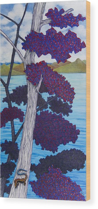 Skink Wood Print featuring the pastel Western Skink On Tree Next To Lake by Michele Fritz