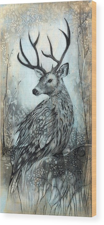 Owl Wood Print featuring the drawing Woodland Fable by Sharlena Wood