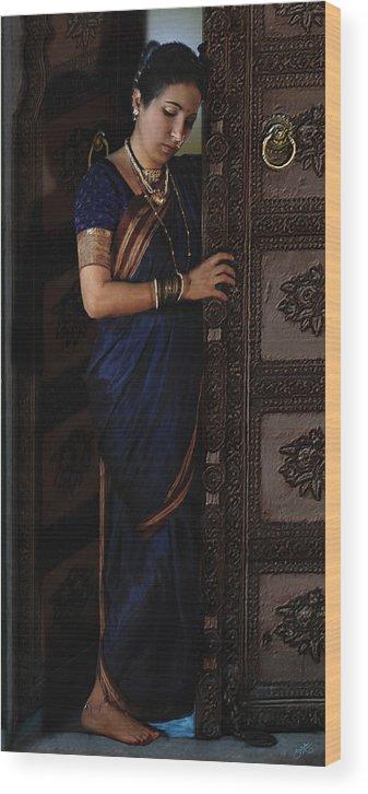 Wood Print featuring the digital art Waiting Lady by Shreeharsha Kulkarni