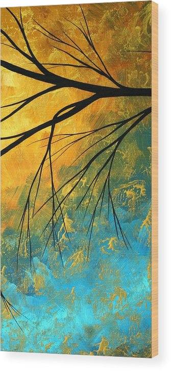 Abstract Wood Print featuring the painting Abstract Landscape Art Passing Beauty 2 Of 5 by Megan Duncanson