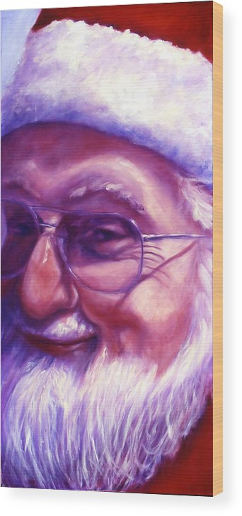 Portrait Wood Print featuring the painting Are You Sure You Have Been Nice by Shannon Grissom