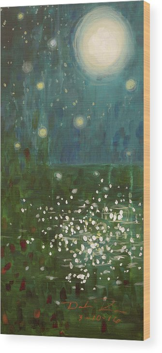 Abstract Wood Print featuring the painting Awaken My Soul by Dinah Rau