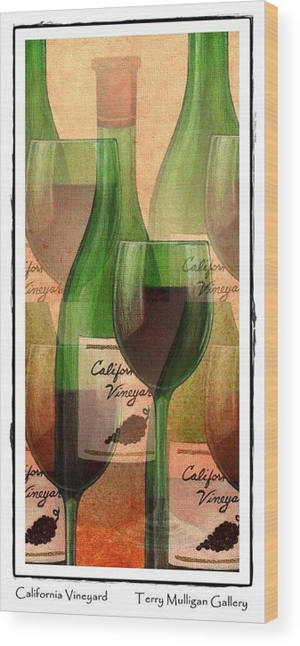 California Wood Print featuring the digital art California Vineyard Wine Bottle And Glass by Terry Mulligan