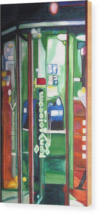 Abstract Wood Print featuring the painting Calling Dam by Patricia Arroyo