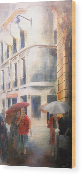 Drizzle Wood Print featuring the painting Drizzle by Victoria Heryet