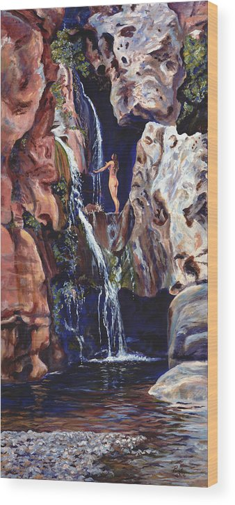 Landscape Wood Print featuring the painting Elves Chasm by Page Holland
