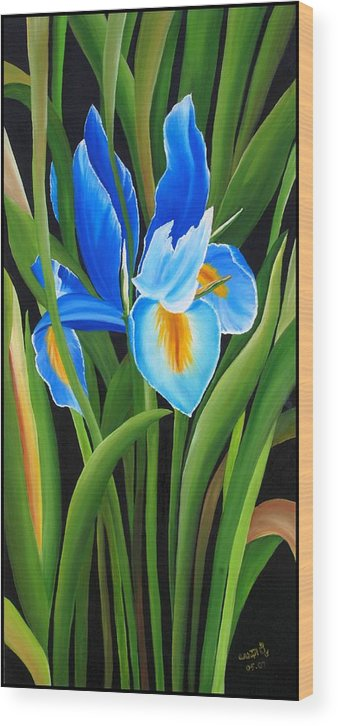 Flowers Wood Print featuring the painting Full Bloom by Usha Rai