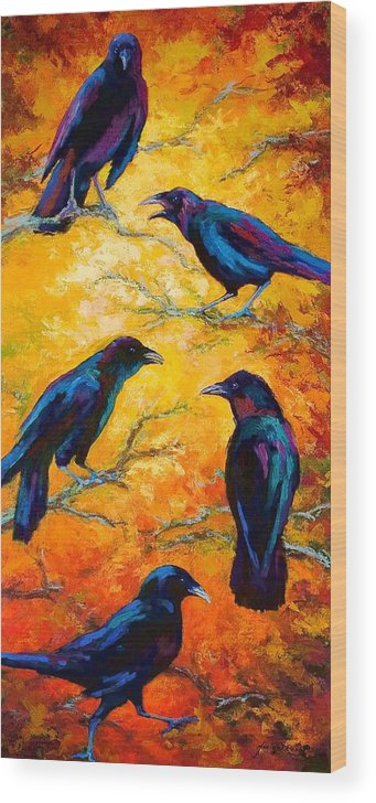 Crows Wood Print featuring the painting Gossip Column II by Marion Rose