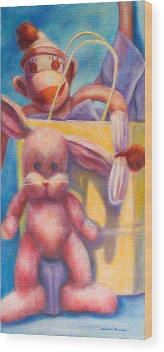 Children Wood Print featuring the painting Hide And Seek by Shannon Grissom