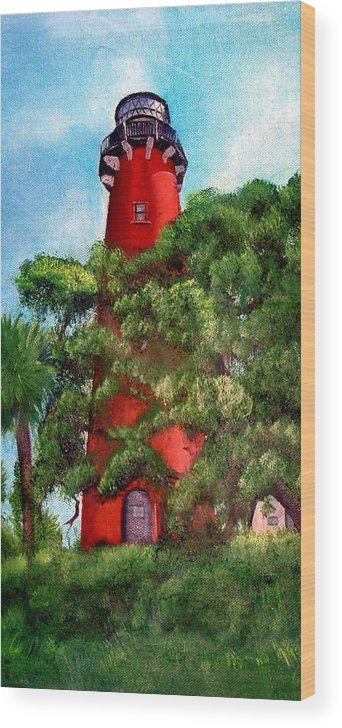 Jupiter Lighthouse Wood Print featuring the painting Jupiter Inlet Lighthouse by Darlene Green