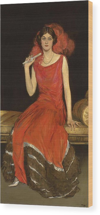 Sir John Lavery Wood Print featuring the painting Lady In Red - Mrs Owen Barton Jones by Sir John Lavery