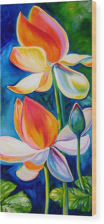 Lotus Wood Print featuring the painting Lotus Blossoming by Marcia Baldwin