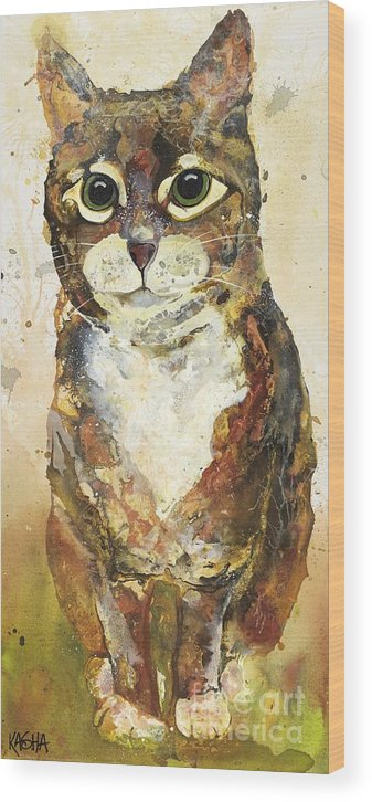 Cat Wood Print featuring the painting Max by Kasha Ritter