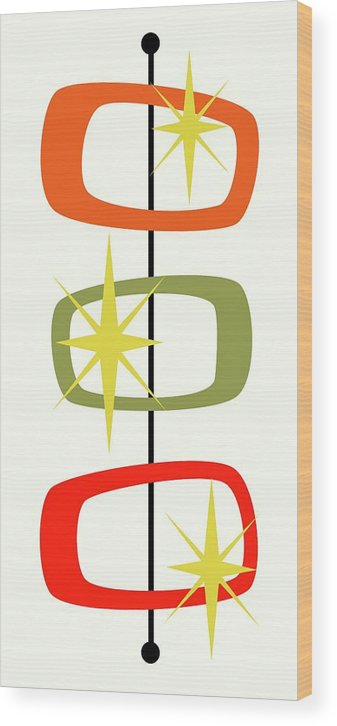 Mid Century Modern Wood Print featuring the digital art Mcm Shapes 1 by Donna Mibus
