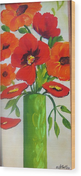 Painting Wood Print featuring the painting Orange Flowers In Lime Green Vase by Carrie Allbritton