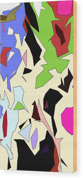 Abstract Wood Print featuring the digital art Perhaps Departure Panel Two Of Four by Linda Mears