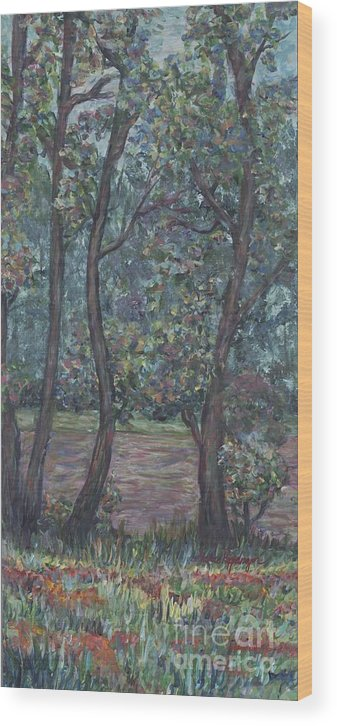 Landscape Wood Print featuring the painting Provence Flowers by Nadine Rippelmeyer