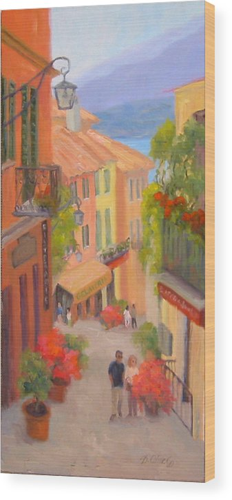Bellagio Wood Print featuring the painting Saturday Stroll - Bellagio by Bunny Oliver