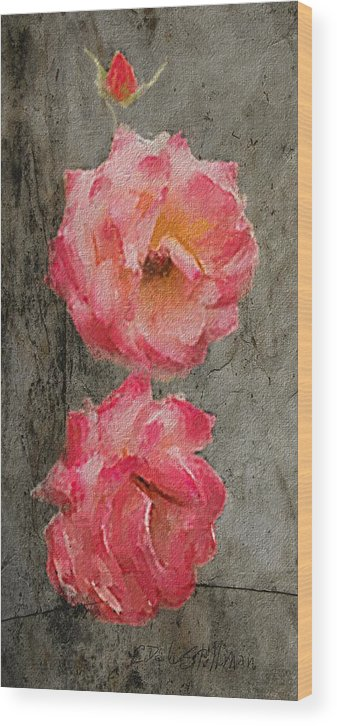 Roses Wood Print featuring the digital art Three Roses by Dale Stillman