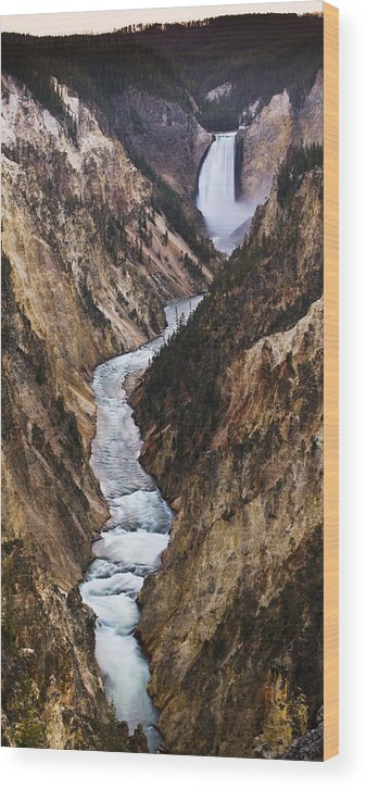 River Wood Print featuring the photograph Yellowstone River Falls by Chad Davis