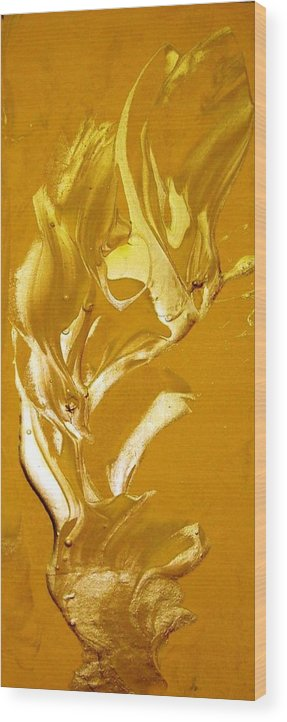 Gold Wood Print featuring the painting For Love  For All by Bruce Combs - REACH BEYOND
