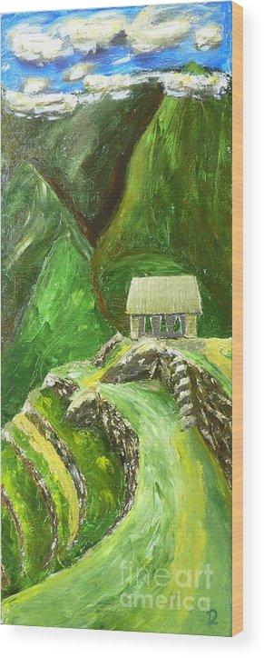 Machu Picchu Wood Print featuring the painting Machu Picchu by Declan Leddy