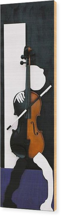 Violin Wood Print featuring the sculpture Soul Of Music by Steve Karol