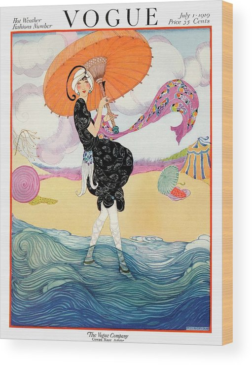 Illustration Wood Print featuring the photograph A Vogue Cover Of A Woman On A Beach by Helen Dryden