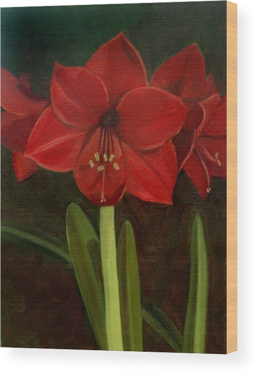 Amaryllis Wood Print featuring the painting Amaryllis by Nancy Griswold
