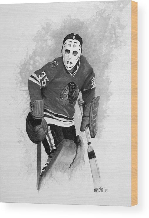 Hockey Wood Print featuring the painting Black Hawk Shut Down by William Walts