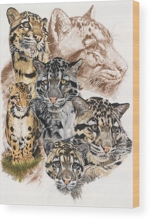 Clouded Leopard Wood Print featuring the mixed media Cloudburst by Barbara Keith