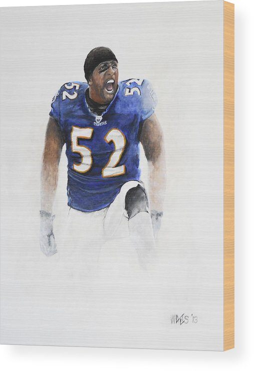Football Wood Print featuring the painting Ray Lewis by William Walts