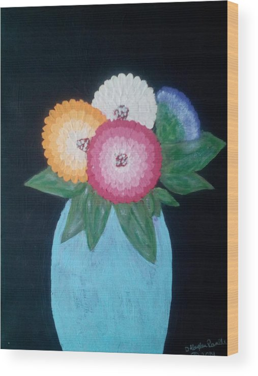 Flowers Wood Print featuring the painting Zinnias by Dawn Randle