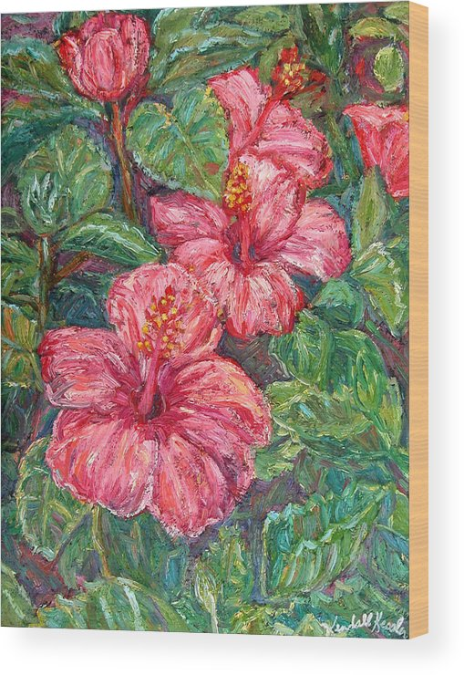 Hibiscus Wood Print featuring the painting Hibiscus by Kendall Kessler