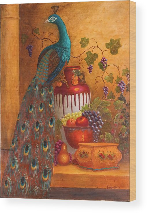 Still Life Wood Print featuring the painting The Peacock by Jeanene Stein