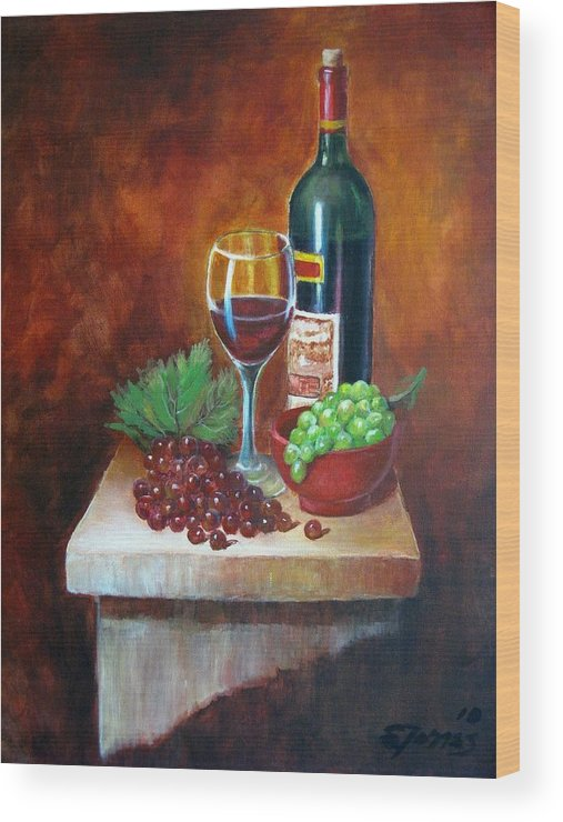 Vino Wood Print featuring the painting Vino Tinto by Edgar Torres