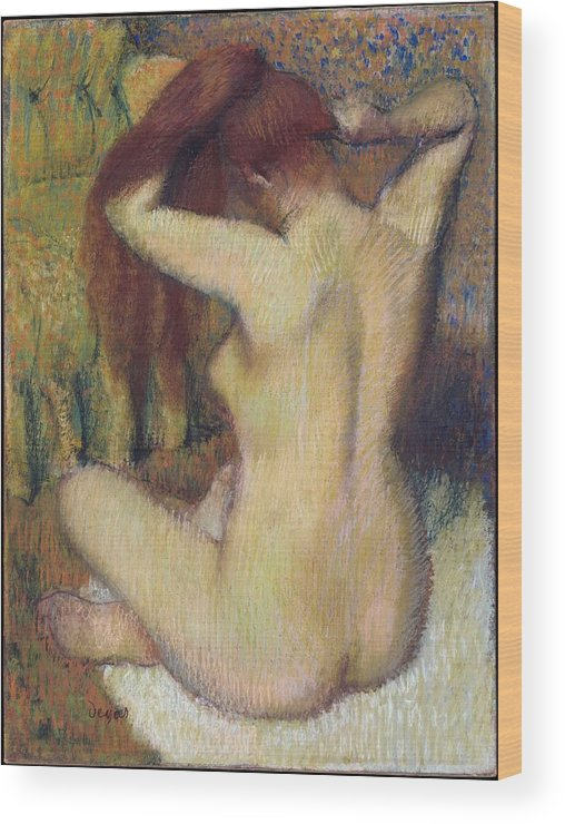 Edgar Degas Wood Print featuring the painting Woman Combing Her Hair by Edgar Degas