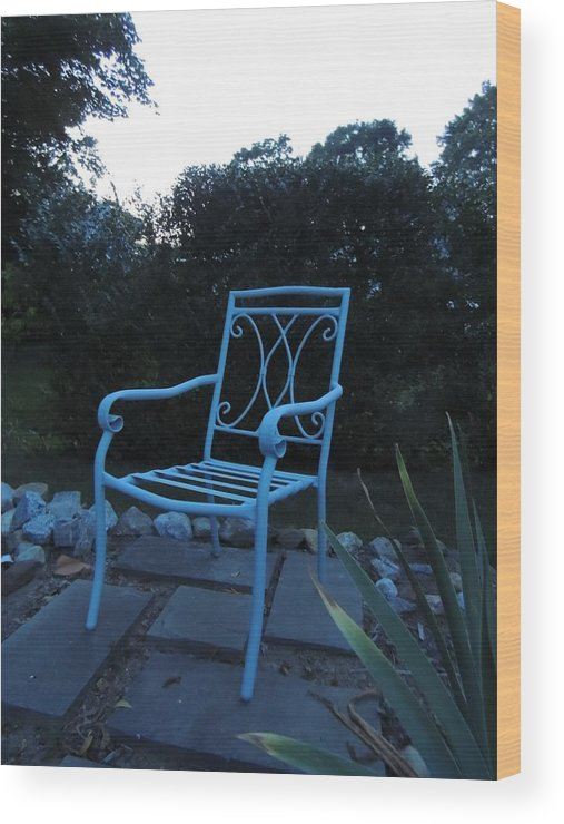 Chair Wood Print featuring the photograph A Blue Chair by Anastasia Konn