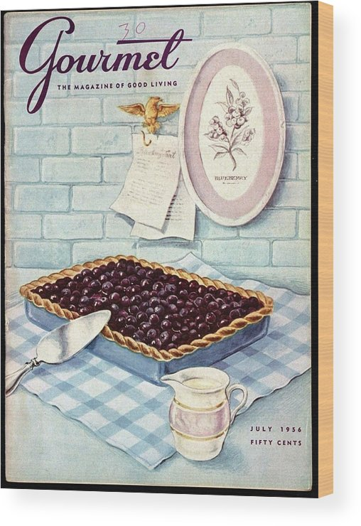 Food Wood Print featuring the photograph A Blueberry Tart by Hilary Knight