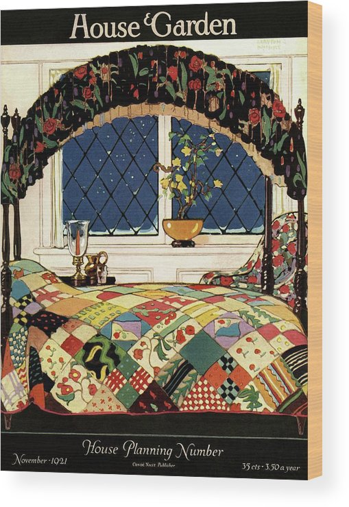 Illustration Wood Print featuring the photograph A House And Garden Cover Of A Four-poster Bed by Clayton Knight