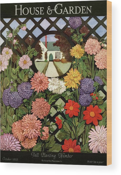 Illustration Wood Print featuring the photograph A House And Garden Cover Of Flowers by Ethel Franklin Betts Baines