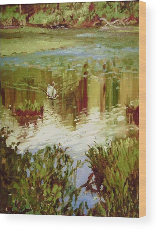 White Swan Wood Print featuring the painting A Swan's Lake by Beverly Klucher